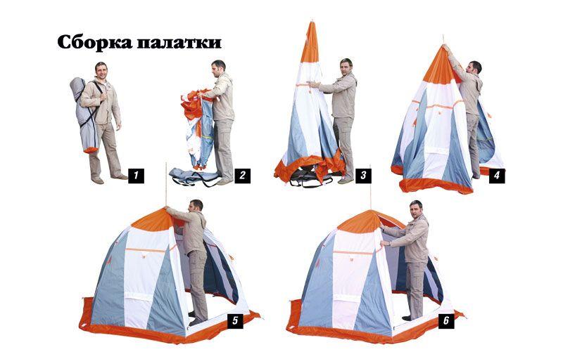 как собрать палатку рыбака